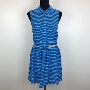 Covington Blue Striped Casual Belted Shirt Dress *